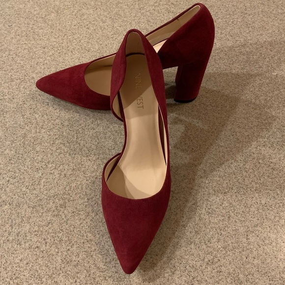 bd56b86ce714 Nine West Shoes | Size 7 Suede Wine Colored Chunk Heel | Poshmark